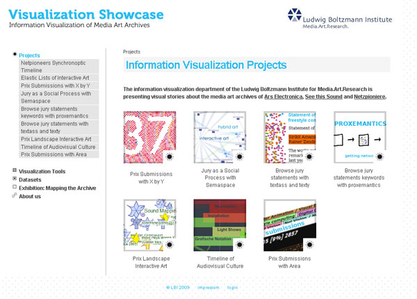 screencap of Information Visualization website