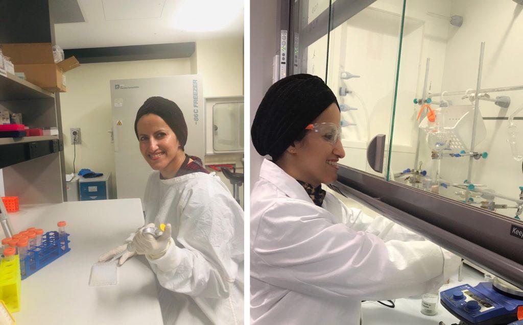 Basmah working in the lab