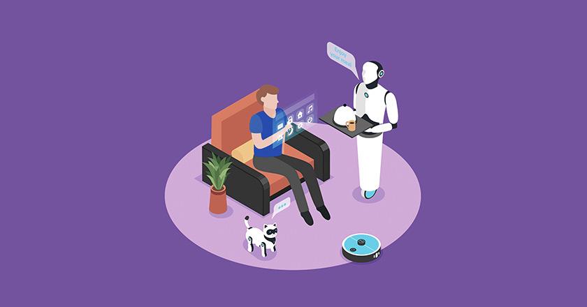 hombre sentado en un sofá siendo servido por robots